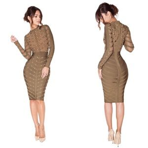 'Kaori' Khaki Studded Bandage and Mesh Dress